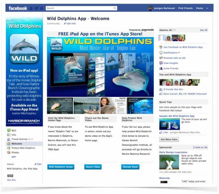 Wild-Dolphins-Facebook-Landing-Page
