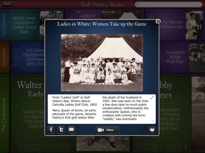 Golf History App: Story Small Tile View